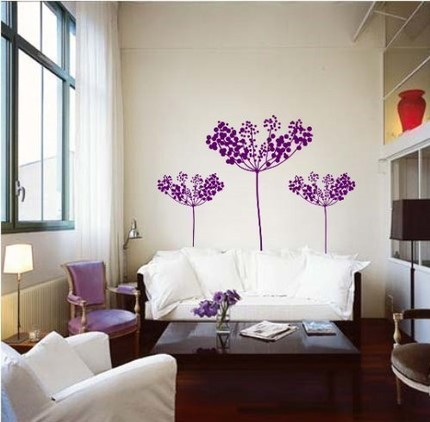 Modern Purple Flower Wall Decal
